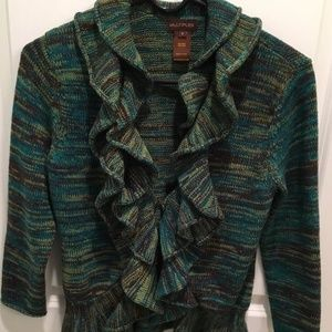 Multiples Women's Brown and Green Ruffled Sweater